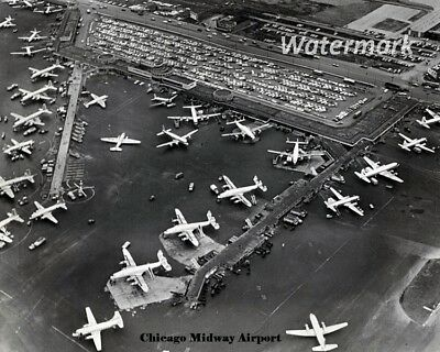 1958 Chicago Midway Airport Aerial View of Tarmac & Terminal 8 X 10 Photo