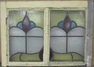 """MID SIZED OLD ENGLISH LEADED STAINED GLASS WINDOW Nice Double Abstract 24"""" x 17"""""""