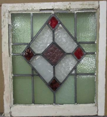"MID SIZE OLD ENGLISH LEADED STAINED GLASS WINDOW Gorgeous Diamond 21.25"" x 23.5"""