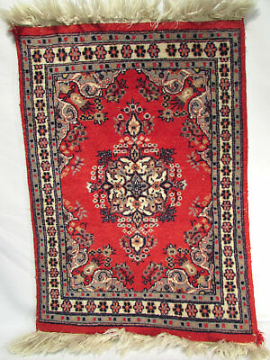 """1980s Pakistan Hand Knotted Wool Area Persian Rug Table Top Mat 2'2"""" x 1'7"""" NICE"""