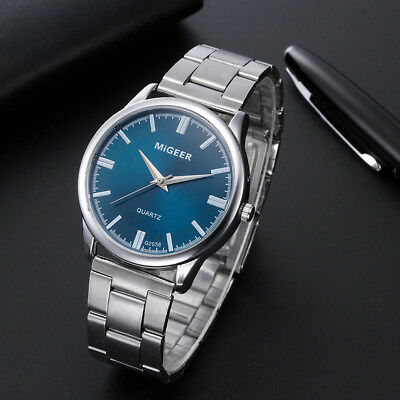 Fashion MIGEER  Man Crystal Stainless Steel Bnad Round Analog Quartz Wrist Watch