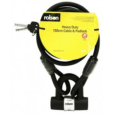 Rolson Heavy Duty 150cm Security Cable & Padlock {1 -4 Locks}