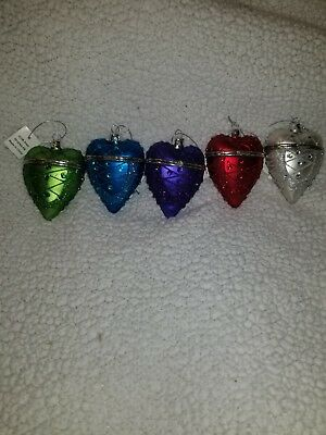 Valerie 2016 Set Of 5 HEART SHAPED ORNAMENTS