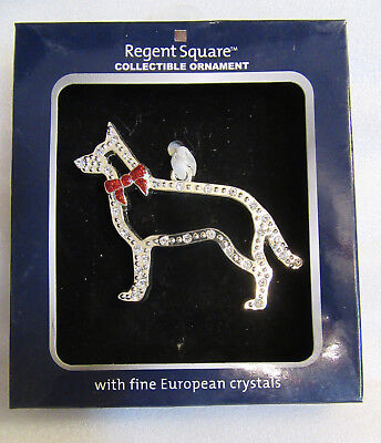 Regent Square ~ German Shepard Dog Pet Sillouette ~ with Crystals Ornament