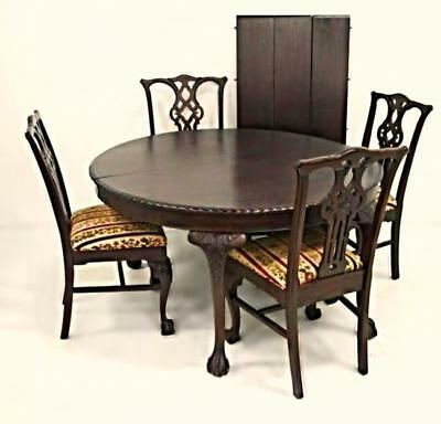 Antique Refinished Chippendale Dining Set Round Table 3 Leaves 4 Side Chairs
