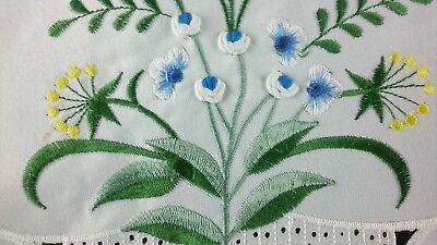 """36"""" Square Embroidered Handmade Blue Color Rosebud Flower Tablecloth Polyester"""