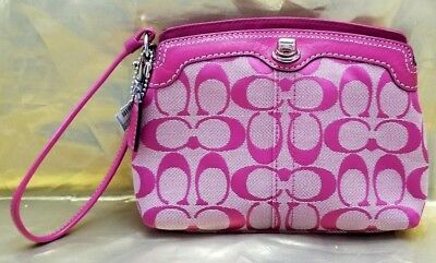 Authentic Coach Signature Large Wristlet Pink Leather Trim