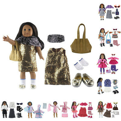 """Shoes Doll Clothes Set For 18"""" 45cm Doll Dress Glasses Bag Durable High Quality"""