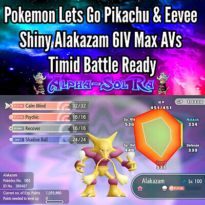 Pokemon Lets Go Pikachu & Eevee Shiny Alakazam 6IV Max AVs Timid Battle Ready