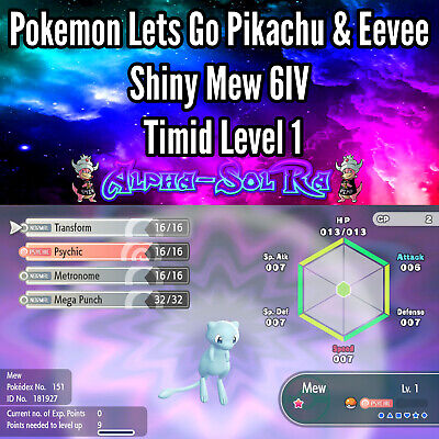 Pokemon Let's Go Pikachu & Eevee - Shiny Mew 6IV Level 1 Timid Poke Ball Plus 🔥