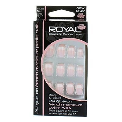 Royal French Manicure Petite Nails Tips with Glue