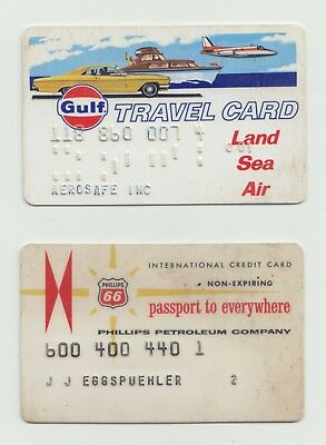 Vintage Gulf Oil Company Travel Card Land Sea Air & Phillips Rt. 66 Credit Cards