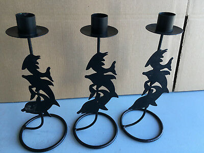 Trio of dolphin design black metal single dinner candle design lot E181118H