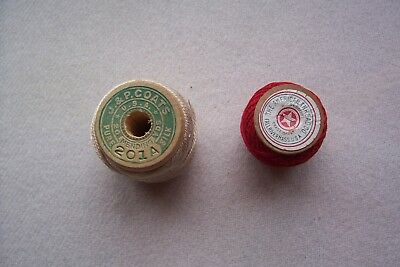 2 Vtg Antique Wooden Spools Sewing Cotton and Silk Mending  thread