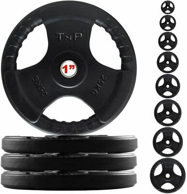 """1"""" TNP Rubber Encased Tri Grip  Barbell Dumbbell Bar Weight Disc Plates"""