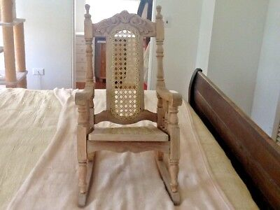 Beautiful Vintage Carved Turned Wooden Child's Rocking Chair With Cane,Kustom