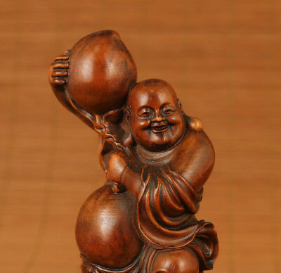 big antique old boxwood hand carved Buddha peach statue home deco netsuke