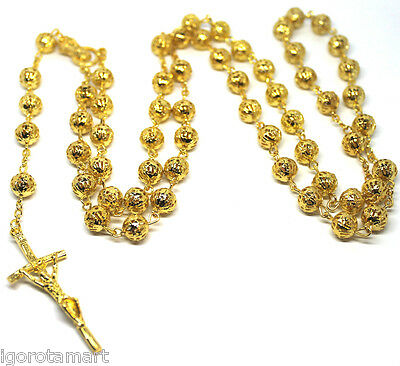 Jesus Cross Crucifix Pendant 18k Gold Plated Bead Balls Rosary Long Necklace