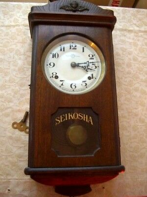 Antique Working 1920s Seikosha Japanese Wall Clock GWO