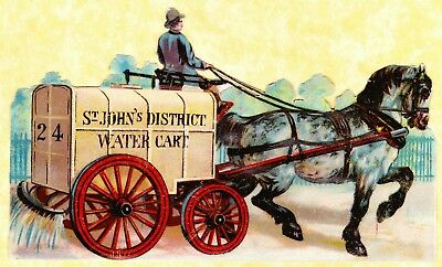 "Victorian Scrap, ""st John's District Water Cart"" Pulled By Horse, App 17 X 10 Cm"
