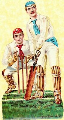 Early 20Th C Scrap,  Large Cricket Players Scene, Approx 21 X 11 Cm