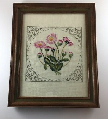 "Finished cross stitch flowers green pink framed under glass 12""x15"