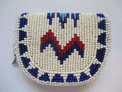 Beautiful Vintage Native American Leather Beaded Zippered Purse