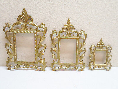 Lot of 3 Matching Vintage Brass Ornate Picture Frames