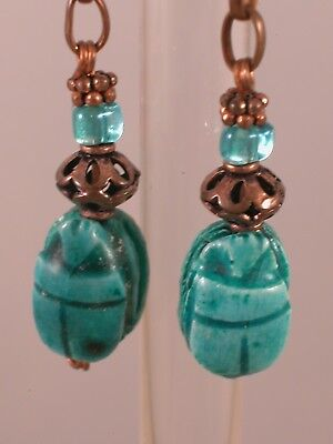 Vintage Egyptian Revival Turquoise Glazed Clay Scarab Copper Dangle Earrings