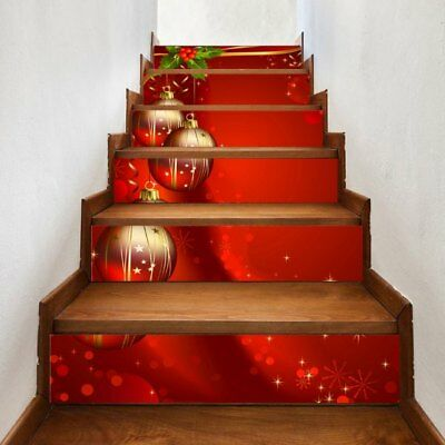 Baubles Christmas Pattern Decorative Stair Decals - Red 100*18cm*6pcs