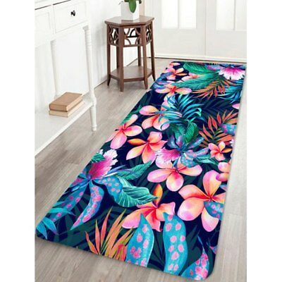Flower Plant Printed Coral Fleece Floor Mat - Hot Pink W24 Inch * L71 Inch