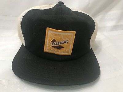 113fead433ac6 Falstaff Beer Trucker Hat Vintage Brewery Snapback Cap Black   White with  Gold