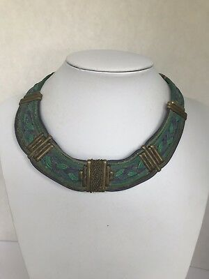 Vintage EGYPTIAN style woven BIB COLLAR NECKLACE green blue gold tone Cleopatra