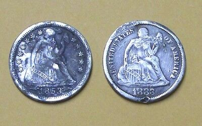 + Liberty Seated Silver Dimes  1883 & 1853 With Arrows At Date  Strong Full Libe