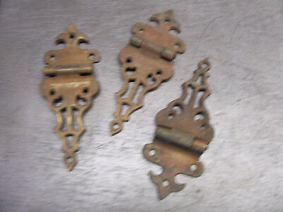 3 Solid Brass Antique Ice Box Hinges with off set.