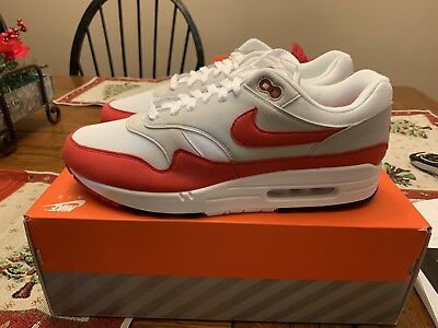 2018 Nike Air Max 1 OG 30th Anniversary White Red Sneakers Size 12 908375  103 686a64789
