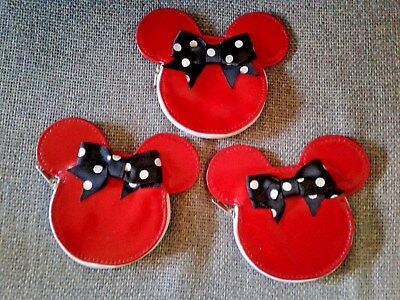 Lot 3 x Minnie Mouse Ears Red Coin Purse Authentic Disney Park Merchandise NEW