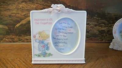 Porcelain  Precious Moments Picture Frame Happiness Is At Our Fingertips