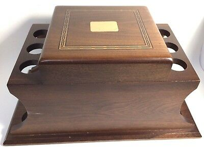 Vintage Walnut (6) Pipe Holder & Tobacco Humidor- Excellent
