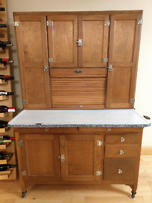 Antique Sellers Hoosier Cabinet Cupboard Oak Birch Porcelain Top Tambour & Bins
