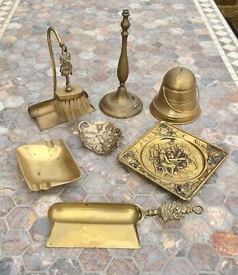 Job Lot Antique Vintage Brass Collectables,Embossed Plate,Brush,Pan,Ashtray,Old