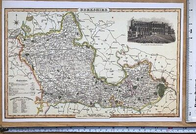 Old Victorian Map of Berkshire: Windsor 1840 Pigot: Historical, Antique: Reprint