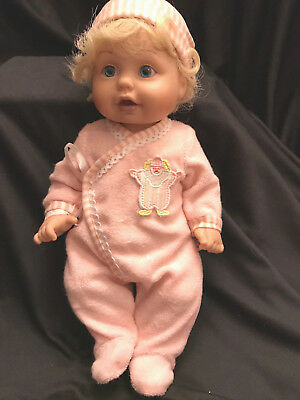 "Baby So Beautiful Newborn Doll Blonde Blue Realistic Eyes Long Lashes 14"" RARE"