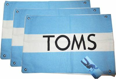 """New! Lot of 3 TOMS Shoe Storage Bag, 14½"""" x 9½"""" Drawstring Travel Dust Cover"""