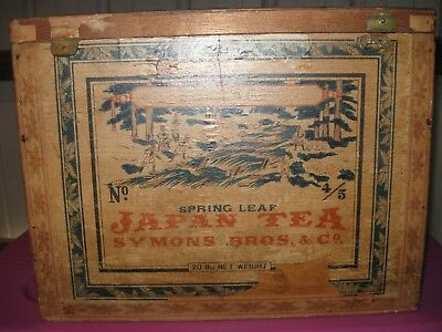 Vintage/Antique Collectible Symons Bros.& Co. Spring Leaf Japan Tea Shipping Box