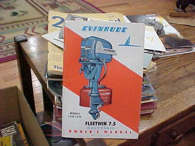 Vintage Evinrude Fleetwin 7.5 Aquasonic Owner's Manual 1955 <pde; 7518-7519