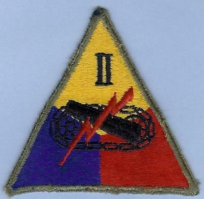 Genuine WWII US Army 2nd (II) Armored Corps Patch--Skinny Number!