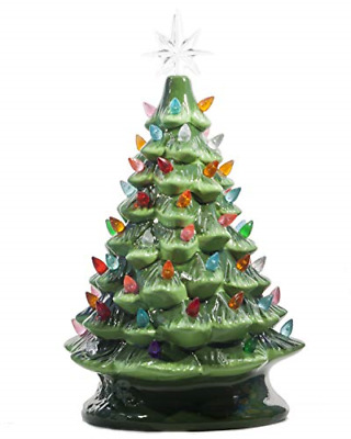 ReLive Christmas is Forever Lighted Tabletop Ceramic Tree, 14.5-Inch Green Tree