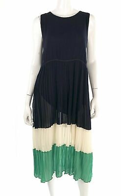Bloomsbury Womens Dress Navy Green Colorblock Pleated Skirt Midi Size L Large
