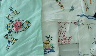 Vintage hand made x7 bulk lot cross stitch embroidered table linen napery cotton